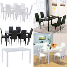 GLOSS Glass Dining Table And 4 OR 6 Faux Leather Chairs Set Rectangl White Black