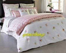 Yves Delorme Lolarose Queen Flat Sheet White Pink Floral 100% Cotton NEW $360