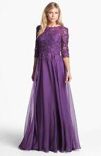 La Femme Lace Bodice Chiffon Chiffon Gown Dress 2 New