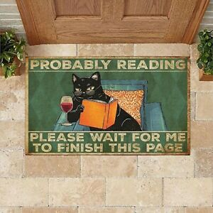 Indoor Doormat Cat Probably Reading Please Wait For Me To Finish This Page Mat