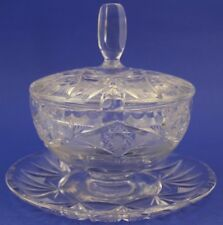 VTG ABP American Brilliant Cut Glass Lidded Relish Server Attached Underplate