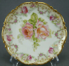 Coronet Limoges Pink & White Rose Garlands & Clouded Gold Dessert Plate 1906-20