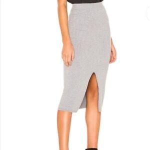 Free People Ribbed Knit Midi Skirt With Slit Grey XS UK 6  BNWOT NEW