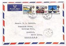 XX40 1973 SEYCHELLES *Victoria* Commercial Airmail Cover Devon TRIPLE FRANKING