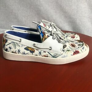 Loudmouth Sailor Men's Size 8.5M White Insect Print Two-Eye Casual Boat Shoes