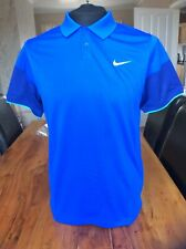 Nike Mens Golf Polo Shirt Tour Performance Dri-fit Blue Slim Fit Small