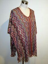 New Authentic Missoni Knit Wool Blend Wave Poncho/Scarf Orange Lbl made in Italy
