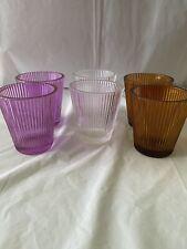 Slatkin & Co - set of 6 Glass Votive Candle Holders - 2 Pink, 2 Amber & 2 Clear