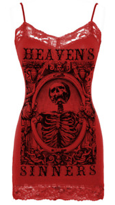 Se7en Deadly Heavens Sinners Seven Skeleton Gothic Lace Camisole Tank Top 2416-C
