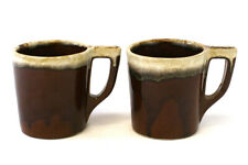"""Lot Of Two Brown Drip Pottery Mugs With """"D"""" Handles And A Griffin Mark"""