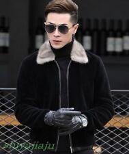 Fashion Men's Winter Real Fur Collar Lambs wool Jacket Warm Fur Coat Overcoat