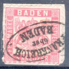 "Baden, Sc#20, used on piece, ""Frankrich Uber Baden"" cxl, **RARE**, Signed GPSY"