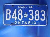 ONTARIO LICENSE PLATE 1974 MARCH B48 383 CANADA CROWN VINTAGE CAR SHOP SIGN