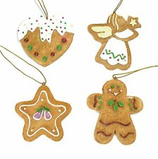 Set of 4 Gingerbread Cookie Christmas Tree Decorations (7.5cm)