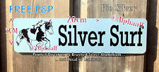 PIEBALD COB Stable door Sign Plaque  Personalised Brushed SILVER Ali clear Mane