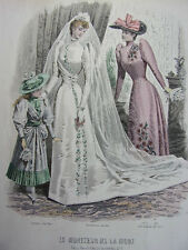 """32/ GRAVURE DE MODE """" Moniteur de la Mode Paris 1891 """".   Grand format 36x26"""