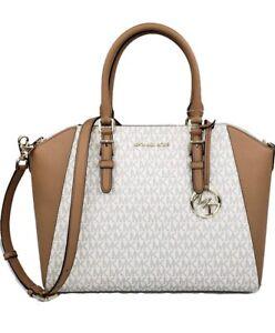 Michael Kors Ciara LG Tz Satchel PVC/Leather Vanilla 35S9GC6S3B