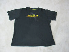 Nautica Competition Shirt Adult Extra Large Black Yellow Spell Out Mens 90s
