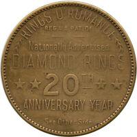 Diamond Rings O'Romance New York City NY Good For $20 Trade Token