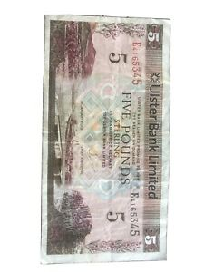 ULSTER BANK LIMITED £5 NOTE 1st January 2013 Fine Condition, Ser No: E4165345