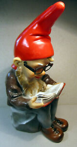 "Book Reading Gnome Vintage Heissner West Germany 990 13"" Tall Plastic Plastik"