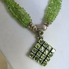 Sterling Green Peridot Pendant & 18 in Nugget Green Peridot Necklace 47.7g[3430]