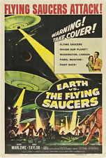 EARTH VS. THE FLYING SAUCERS Movie POSTER 27x40 B Hugh Marlowe Joan Taylor