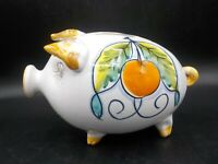 Vtg Mid Century Modern Italy Painted Ceramic Piggy Bank Italian Terracotta Fruit