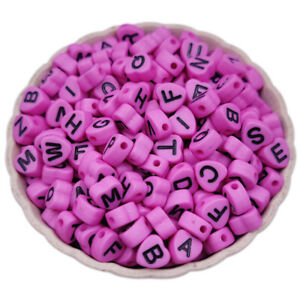 200Pcs 4*7mm Candy Color Heart Letter Loose Beads For Jewelry Making Single Hole