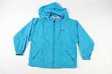 Vintage 90s Reebok Mens Large Stitched Spell Out Hooded Windbreaker Jacket Blue