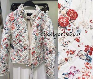 ZARA Off White Ecru Floral Printed Quilted Jacket Coat L BNWT  REF: 0518 245