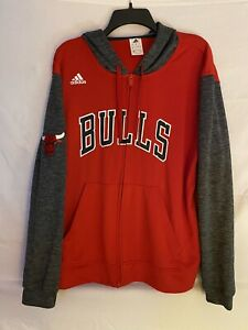 Adidas Chicago Bulls Hoodie Jacket Adult Mens Size LARGE Climalite NBA 2015