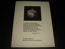 VERY UNCOMMON VTG NASA PROJECT APOLLO JFK QUOTE MANNED FLIGHT AWARENESS PRINT