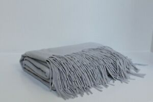 New Williams Sonoma Solid Cashmere Fringe Throw Luxury Blanket Alpine Grey