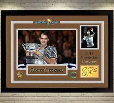 Roger Federer signed autographed Memorabilia 2017 Australian Open Champion frame