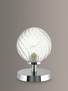 Där Lighting Esben Twisted Glass Touch Table Lamp, Polished Chrome