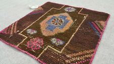 Small oushak Rug 2x2 feet, Vintage, Turkish, Brown, Bohemian, Anatolian, Kilim
