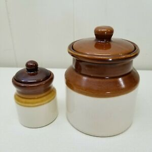 Set Of 2 Vintage Ceramic Jars Vase With Lids Glazed Big Small Canisters Country