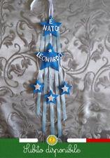 Fiocco nascita neonato maschio stelle personalizzato azzurro 12x48cm
