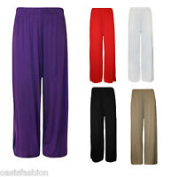 LADIES WOMENS STANDARD & PLUS SIZE PLAIN PALAZZO WIDE LEG TROUSERS SIZES 10-26