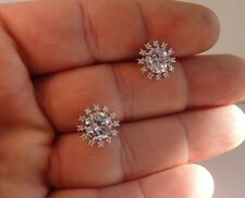 SNOW FLAKE SHAPE STUD EARRINGS W/  3 .50 CT ACCENTS /925 STERLING SILVER/ 12MM