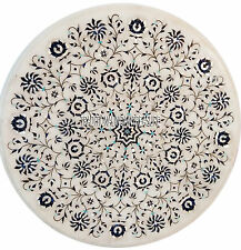 """15"""" White Marble Side Table Top Lapis Inlay Marquetry Mosaic Pietradura Art Gift"""