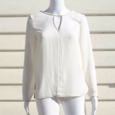 Zara Basic Blouse With Leather Pipe Line Long Sleeve Top in White SIZE XS