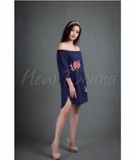 OFF SHOULDER EMBROIDERED DRESS (NAVY BLUE) #crzycod