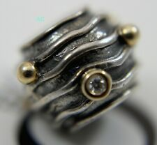 New Authentic Pandora Wavy Dark Lines w/ Diamond charm bead 79209D No Tags
