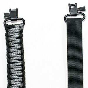 """550 Paracord 2 POINT - GUN SLING WITH 1/8"""" PIN SWIVEL CHARCOAL GRAY/BLACK"""