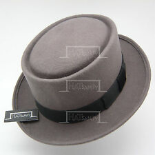 076251c6a10 VINTAGE Wool Felt Pork Pie Flat Top Hat Men Gentlemen Unisex