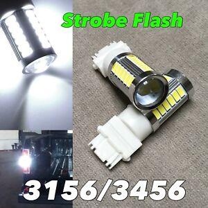 Strobe Flash Reverse Backup Light T25 3156 3456 4156 6000K White LED Bulb W1 JA