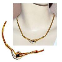 Collier chic couleur or maille anglaise cristal noir blanc 44cm bijou necklace