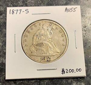 1877-S U.S. LIBERTY SEATED HALF DOLLAR ~ AU++! $2.95 MAX SHIPPING! C3460